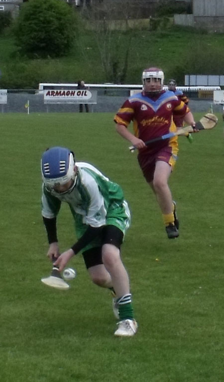 Action from the under 14 Ulster Féile final.