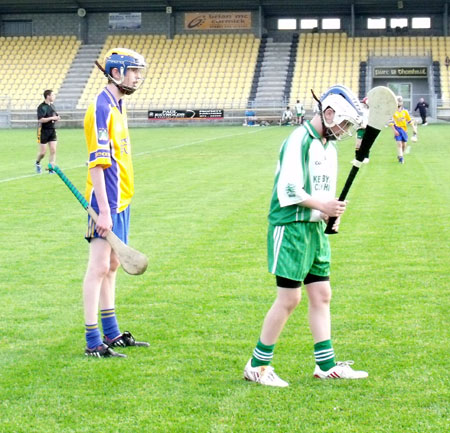 Action from the under 14 Donegal hurling championship final.