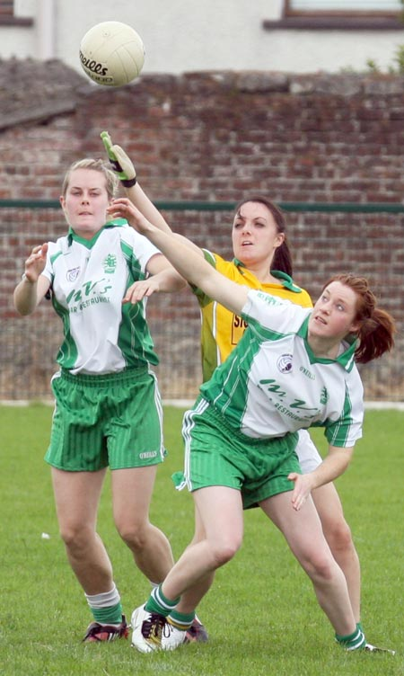 Aodh Ruadh in action against Naomh Columba in the Ladies league.
