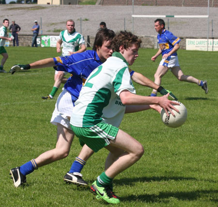 Action from the senior reserve division two match against Kilcar.