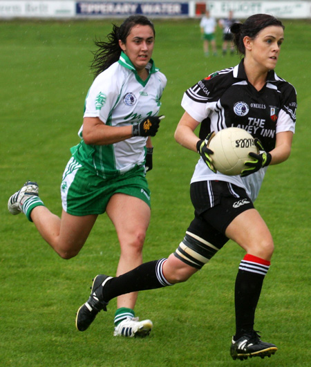Action from the 2010 ladies intermediate championship final between Aodh Ruadh and Malin.