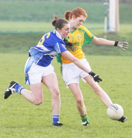 Action from the 2011 NFL division two clash between Donegal and Laois in P�irc Aoidh Ruaidh.