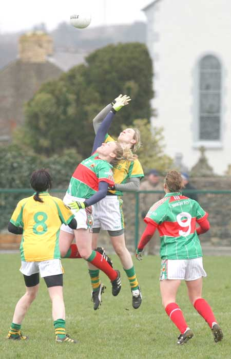 Action from the 2011 NFL division two clash between Donegal and Mayo in Father Tierney Park.