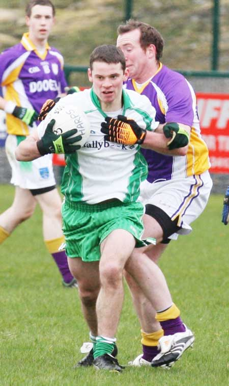 Action from the challenge game between Aodh Ruadh and Derrygonnelly Harps.