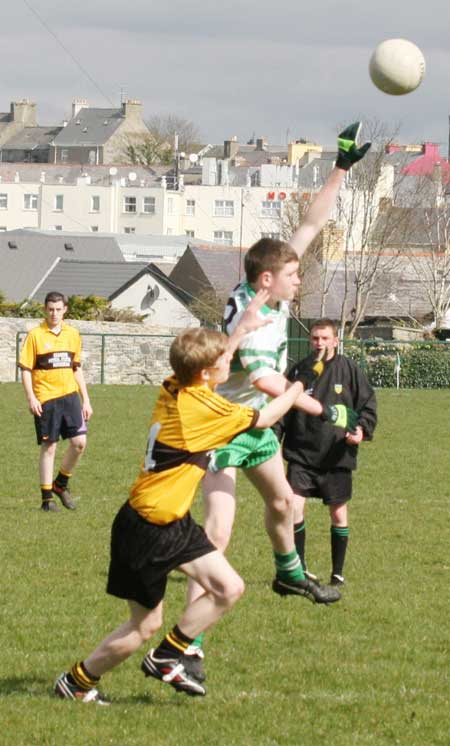 Action from the under 16 league clash between Aodh Ruadh and Bundoran.