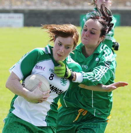 Action from the ladies league clash between Aodh Ruadh and MacCumhaills in Páirc Aoidh Ruaidh.