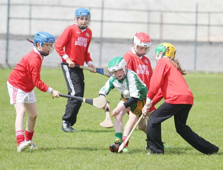 Action from the under 14 hurling blitz at Father Tierney Park.