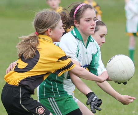 Action from the under 12 girls challenge between Aodh Ruadh and Erne Gaels in Páirc Aoidh Ruaidh.