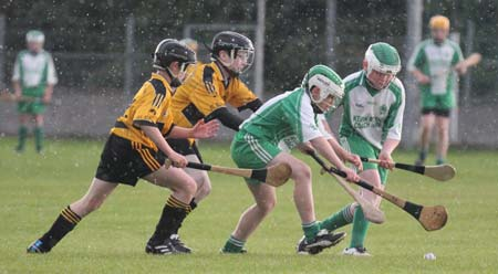 Action from the under 14 hurling game between Aodh Ruadh and Saint Eunan's.