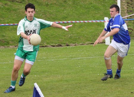 Action from the intermediate reserve championship match against Fanad Gaels.