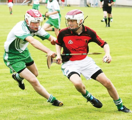 Action from the under 16 hurling game between Aodh Ruadh and Lisbellaw
