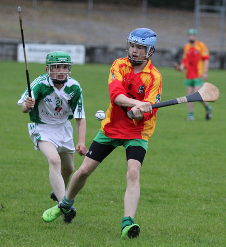 Action from the under 16 hurling league game between Aodh Ruadh and MacCumhaill's.