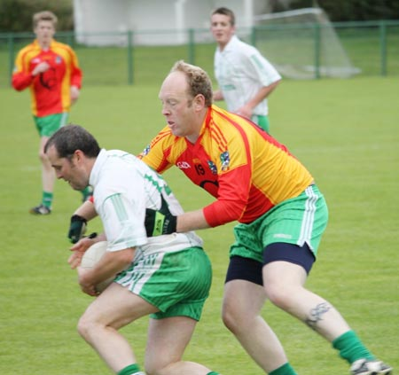 Action from the intermediate reserve football championship match against Saint Naul's.