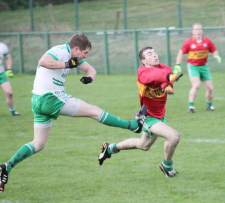 Action from the division three football league match against Saint Naul's.