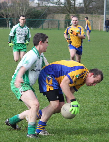 Action from the division three football league match against Burt.