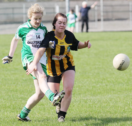 Action from the 2011 ladies under 14 B championship final between Aodh Ruadh and Urris.