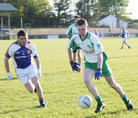 Action from the division three senior reserve football league match against Muff.