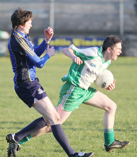 Action from the division three senior football league match against Muff.