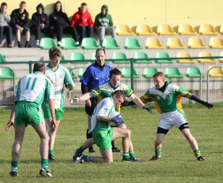 Action from the division three senior reserve football league match against Naomh Columba.