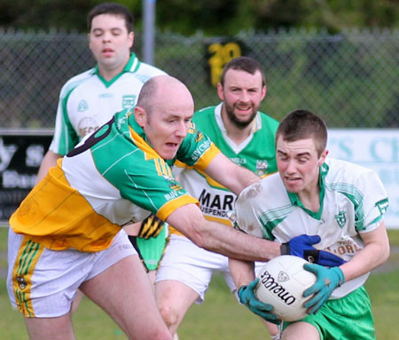 Action from the division three senior reserve football league match against Buncrana.