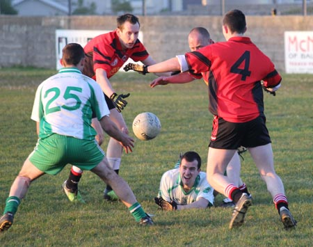 Action from the division three senior football league match against Urris.