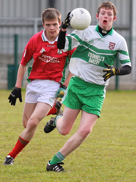 Action from the division three senior reserve football league match against Carndonagh.