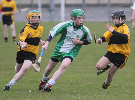 AAction from the under 14 hurling league game against Saint Eunan's in Father Tierney Park.