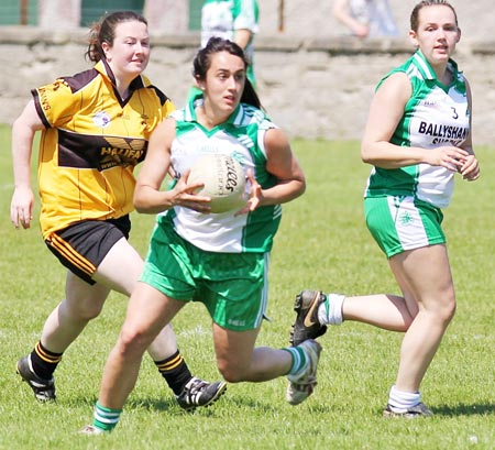 Action from the senior ladies league game between Aodh Ruadh and Saint Eunan's.