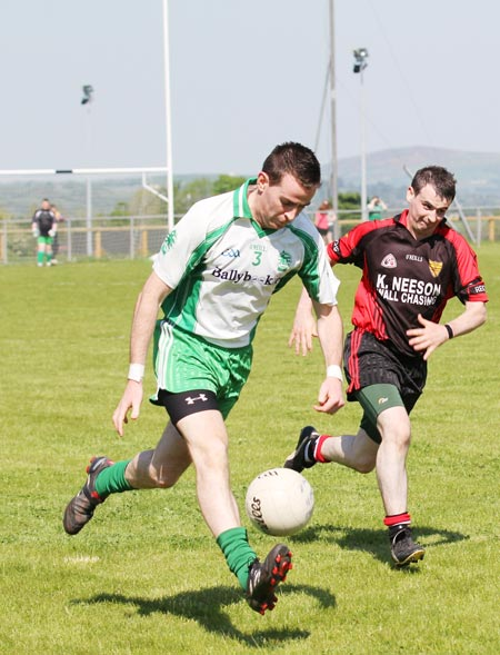 Action from the division three senior football league match against Red Hugh's.