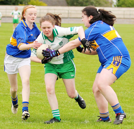 Action from the under 14 ladies league game between Aodh Ruadh and Kilcar.