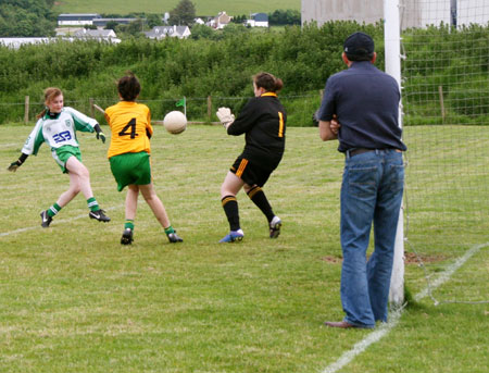 Action from the ladies under 14 match between Aodh Ruadh and Malin.