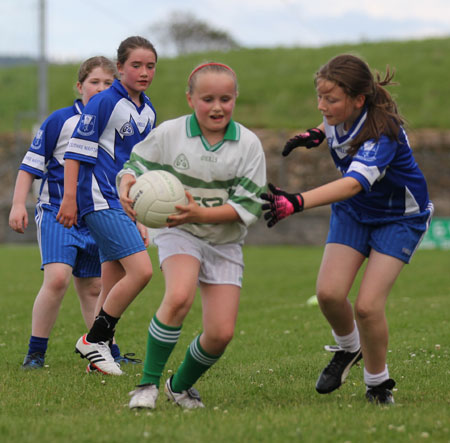 Action from the ladies under 10 match between Aodh Ruadh and Bundoran.