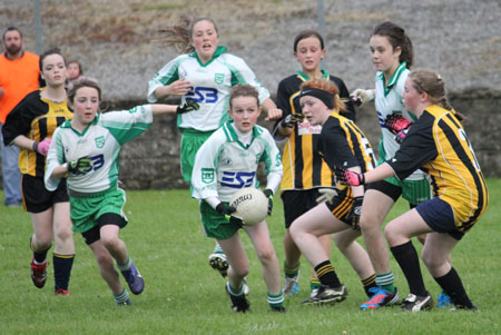 Action from the ladies under 14 match between Aodh Ruadh and Bundoran.