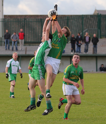 Action from the division three senior football league match against Naomh Columba.