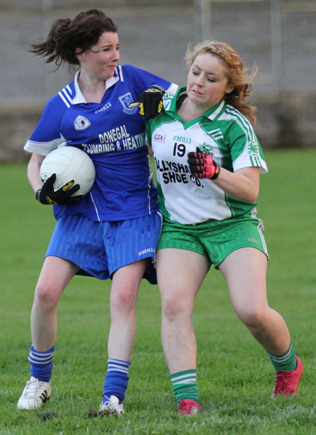 Action from the ladies senior match between Aodh Ruadh and Four Masters.