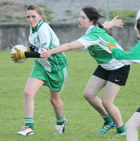 Action from the ladies under 16 match between Aodh Ruadh and Saint Naul's.