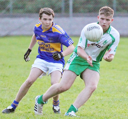 Action from the under 16 championship game between Aodh Ruadh and Kilcar.