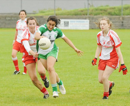 Action from the ladies senior match between Aodh Ruadh and Glenfin.