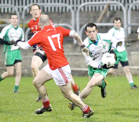 Action from the intermediate football championship semi-final against Naomh Colmcille.