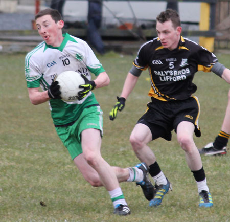 Action from the reserve division 3 senior game against Naomh Padraig, Lifford.