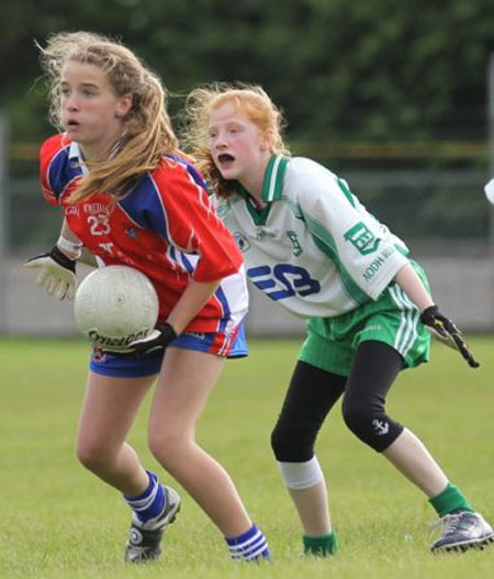 Action from the ladies under 14 match between Aodh Ruadh and New York.