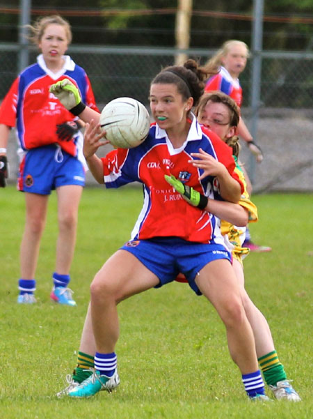 Action from the ladies under 14 match between Donegal and New York.