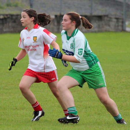 Action from the under 14 ladies match between Aodh Ruadh and Glenfin.