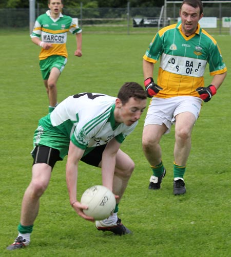 Action from the intermediate reserve championship game between Aodh Ruadh and Buncrana.
