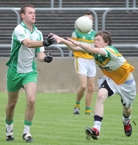 Action from the under 21 B championship game between Aodh Ruadh and Buncrana.