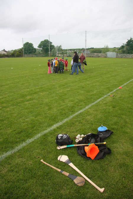 Under 10 hurling blitz action.