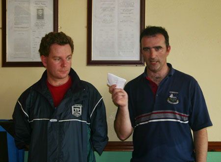 John Rooney (organiser) and Dennis Doherty (Chairman) at the prize giving.