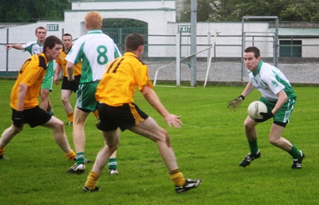 Action from the Aodh Ruadh v Malin game in Father Tierney Park.
