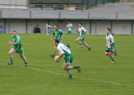 Action from the Aodh Ruadh v Saint Naul's division two league game in Father Tierney Park.