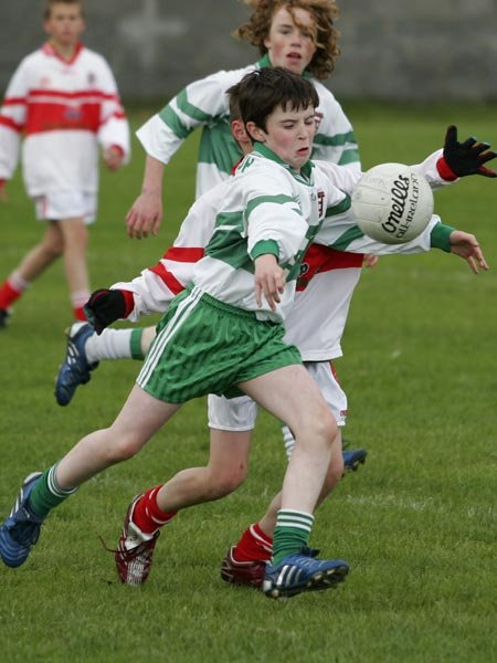 Matthew Maguire of Aodh Ruadh clears under pressure.